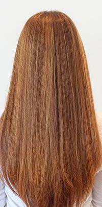 After Light Set copper hair highlight application